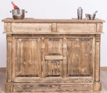Casa Padrino Landhausstil Theke Braun 150 x 65 x H. 107 cm - Massivholz Thekentisch mit Tür und 2 Schubladen - Barmöbel im Landhausstil