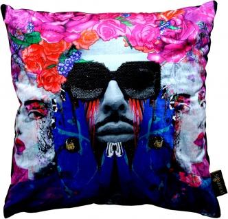 Harald Glööckler Designer Deko Kissen Pompöös by Casa Padrino Face & Sunglasses mit Strass Steinen - Art Collection -