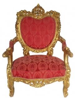 Casa Padrino Barock Thron Sessel Bordeaux Rot Muster / Gold 70 x 70 x H. 110 cm - Prunkvoller handgefertigter Königssessel - Hochzeitssessel - Barock Möbel