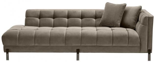Casa Padrino Luxus Lounge Sofa Greige / Schwarz 223 x 95 x H. 68 cm - Rechtsseitiges Wohnzimmer Sofa mit edlem Samtsoff und 2 Kissen - Vorschau 2