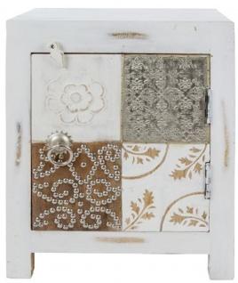 Casa Padrino Landhausstil Shabby Chic Kommode mit Tür Antik Weiß / Mehrfarbig 40 x 32 x H. 50 cm - Landhausstil Möbel - Vorschau 1