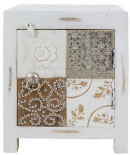 Casa Padrino Landhausstil Shabby Chic Kommode mit Tür Antik Weiß / Mehrfarbig 40 x 32 x H. 50 cm - Landhausstil Möbel