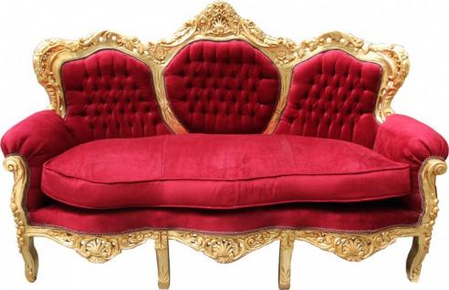 Casa Padrino Barock Sofa King Bordeaux Rot / Gold Mod2 - Möbel Lounge Couch
