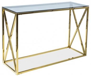 Casa Padrino Luxus Konsole Gold / Grau 120 x 40 x H. 78 cm - Edelstahl Konsolentisch mit Glasplatte - Luxus Möbel