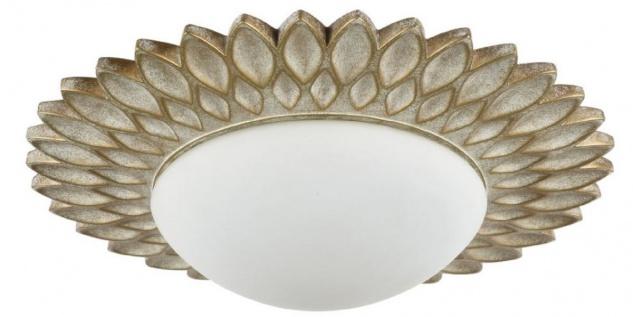 Casa Padrino Designer Deckenleuchte Cremegold / Weiß Ø 36, 2 x H. 8, 2 cm - Moderne Deckenlampe