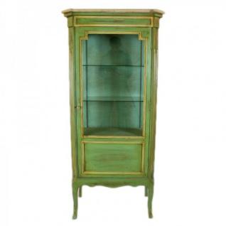 Casa Padrino Barock Vitrine Antik Stil Grün / Gold 160 cm - Vitrinenschrank - Wohnzimmer Schrank - Antik Stil Möbel