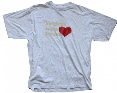 """General Research Skateboard T-Shirt """" Virginia is for Lovers"""" Grey 1B Ware"""