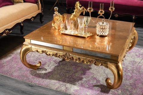 Casa Padrino Luxus Barock Couchtisch Gold 128 x 128 x H. 48 cm - Edler Massivholz Wohnzimmertisch mit Glasplatte und Spiegelglas - Luxus Qualität