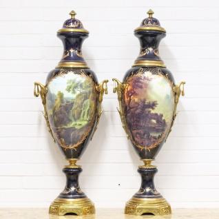 Casa Padrino Deko Vasen Lila / Gold 30 x H. 100 cm - Barockstil Porzellan Vasen Set