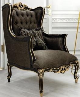 Casa Padrino Luxus Barock Wohnzimmer Sessel mit Kissen Grau / Schwarz / Gold 75 x 83 x H. 115 cm - Barock Möbel - Edel & Prunkvoll