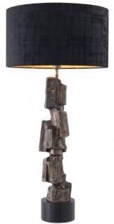 Casa Padrino Luxus Tischleuchte Vintage Messingfarben / Schwarz Ø 55 x H. 113 cm - Moderne Tischlampe mit Granitsockel und rundem Lampenschirm - Wohnzimmer Lampe