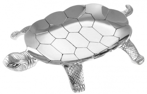 Casa Padrino Designer Messing Serviertablett Schildkröte Silber 39 x 27, 5 x H. 4, 5 cm - Hotel & Restaurant Accessoires - Luxus Qualität