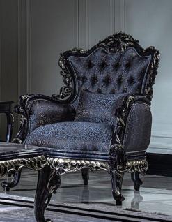 Casa Padrino Luxus Barock Wohnzimmer Sessel Blau / Gold - Handgefertigter Barockstil Sessel mit elegantem Muster und dekorativem Kissen - Prunkvolle Barock Wohnzimmer Möbel