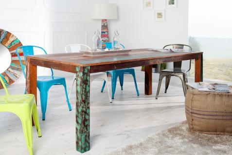 Casa Padrino Massivholz Esstisch Vintage Teakholz Recycled 200 cm - Esszimmer Vintage Look Design Tisch Massiv