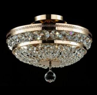Casa Padrino Barock Kristall Decken Kronleuchter Gold 32 x H 23, 5 cm Antik Stil - Möbel Lüster Leuchter Deckenleuchte Deckenlampe