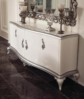 Casa Padrino Luxus Barock Sideboard Weiß / Silber 207 x 54 x H. 90 cm - Edler Massivholz Schrank mit 4 Türen - Möbel im Barockstil