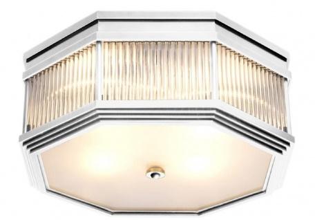 Casa Padrino Luxus Deckenleuchte Silber 40, 5 x 40, 5 x H. 18 cm - Luxus Kollektion