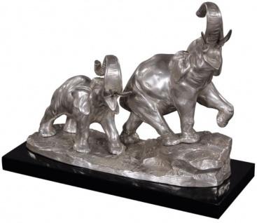 Casa Padrino Bronze Elefanten auf Holzsockel Silber / Schwarz 42 x 17 x H. 33 cm - Luxus Deko Bronzefiguren - Vorschau 2