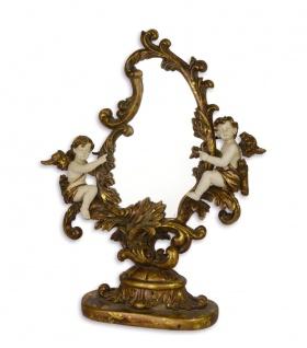 Casa Padrino Barock Schminktisch Spiegel mit Engeln Antik Gold / Weiss - Creme B.24, 2 x H.31, 3 x T.9, 1 cm - Edel & Prunkvoll