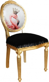 Casa Padrino Barock Luxus Esszimmer Stuhl ohne Armlehnen Flamingo mit Krone und mit Bling Bling Glitzersteinen - Designer Stuhl - Limited Edition - Vorschau 3