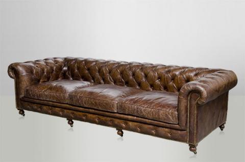 Chesterfield Luxus Echt Leder Sofa 4 Sitzer Vintage Leder von Casa Padrino Cigar