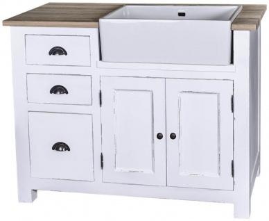 Casa Padrino Landhausstil Spülenschrank mit 2 Türen und 3 Schubladen Antik Weiß / Naturfarben 118 x 65 x H. 90 cm - Shabby Chic Küchenmöbel