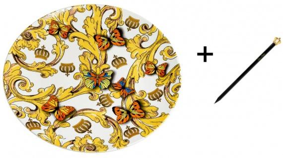 Harald Glööckler Designer Porzellan Platzteller Rococo Ø 30, 5 cm + Casa Padrino Luxus Barock Bleistift mit Kronendesign