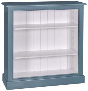 Casa Padrino Landhausstil Bücherschrank Blau / Weiß 102 x 35 x H. 102 cm - Wohnzimmermöbel im Landhausstil - Vorschau