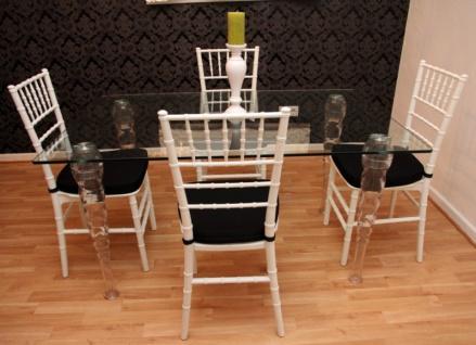 Designer Acryl Esszimmer Set Weiß/Schwarz - Ghost Chair Table - Polycarbonat Möbel - 1 Tisch + 4 Stühle - Casa Padrino Designer Möbel - Vorschau 4