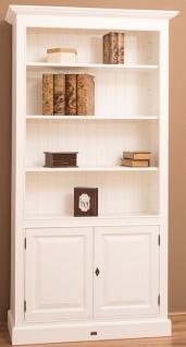 Casa Padrino Landhausstil Bücherschrank / Regalschrank Weiß 110 x 39 x H. 210 cm - Wohnzimmerschrank mit 2 Türen - Vorschau 4