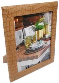 Casa Padrino Luxus Leder Bilderrahmen Hellbraun 20 x 4 x H. 25 cm - Dekorativer Bilderrahmen in Kroko-Optik