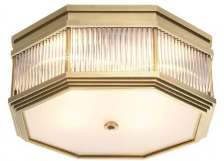 Casa Padrino Luxus Deckenleuchte Antik Messingfarben 40, 5 x 40, 5 x H. 18 cm - Luxus Kollektion