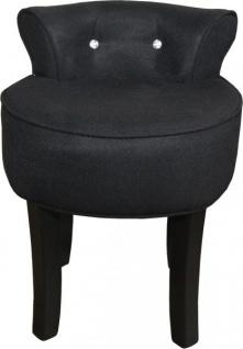 Casa Padrino Designer Hocker Boston Schwarz / Schwarz mit Bling Bling Steinen - Barock Schminktisch Stuhl