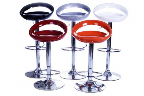 Casa Padrino Designer ABS Plastik Barstuhl Silber, höhenverstellbar, drehbar - Barhocker - Vorschau 5