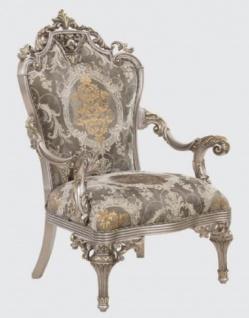 Casa Padrino Luxus Barock Sessel Grau / Silber / Gold 85 x 72 x H. 125 cm - Prunkvoller Wohnzimmer Sessel mit elegantem Muster - Barock Möbel