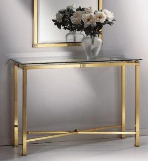 Casa Padrino Luxus Konsole Messingfarben 110 x 38 x H. 80 cm - Edler Messing Konsolentisch mit Glasplatte - Luxus Möbel