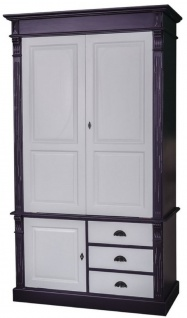 Casa Padrino Landhausstil Kleiderschrank Antik Schwarz / Grau 120 x 59 x H. 210 cm - Massivholz Schlafzimmerschrank mit 3 Türen und 3 Schubladen - Landhausstil Schlafzimmermöbel