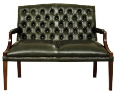 Casa Padrino Chesterfield 2er Sitzbank mit Armlehnen Dunkelgrün / Dunkelbraun 120 x 60 x H. 100 cm - Echtleder Möbel