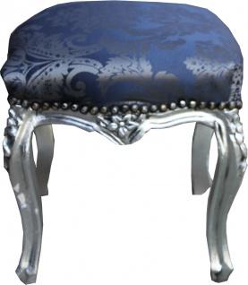 Casa Padrino Barock Hocker Royalblau Muster / Silber Höhe - Barock Möbel