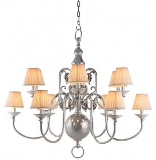 Casa Padrino Luxus Kronleuchter Nickel Finish 12 - armig - Barock Restaurant - Hotel Lampe Leuchte - austauschbare Lampenschirme