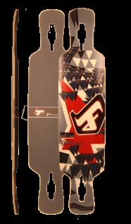 Fibretec Longboard Drop Through Deck S-Flex 1030 - V-lam Bambus Longboard Profi Deck - Medium Flex - Vorschau