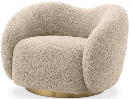 Casa Padrino Luxus Drehsessel Sandfarben / Messing 105 x 91 x H. 74 cm - Wohnzimmer Sessel - Luxus Möbel