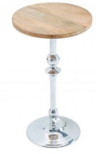 Casa Padrino Designer Beistelltisch in Silber / Natur Mango mit Tischplatte 30 cm x H. 52 cm - Wohnzimmermöbel