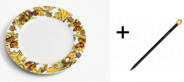 Harald Glööckler Porzellan Teller 19 cm + Luxus Bleistift Casa Padrino - Barock Dekoration