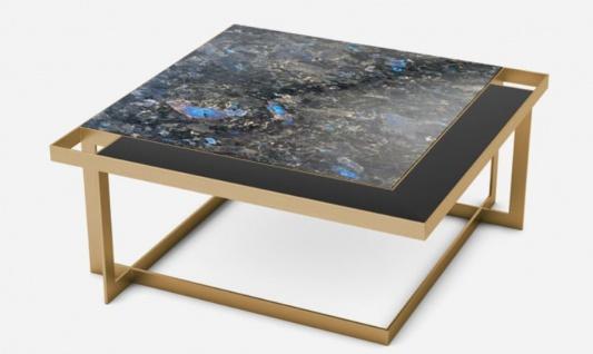 Casa Padrino Luxus Couchtisch Messingfarben / Blau-Schwarz / Schwarz 93 x 93 x H. 40 cm - Moderner quadratischer Wohnzimmertisch mit Granitplatte & Glasplatte - Luxus Wohnzimmer Möbel