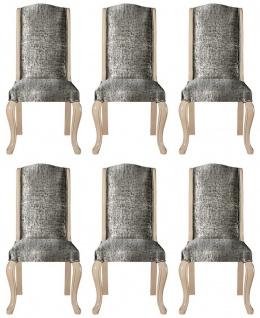 Casa Padrino Luxus Art Deco Esszimmerstuhl Set Silber / Schwarz / Beige - Handgefertigtes Küchen Stühle 6er Set - Art Deco Esszimmer Möbel