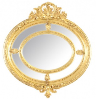 Casa Padrino Barock Wandspiegel Rund Gold 130 x 130 cm - Edel & Prunkvoll - Goldener Spiegel