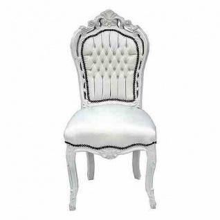 Casa Padrino Barock Esszimmer Stuhl Weiß / Weiß Lederoptik Möbel Antik Stil
