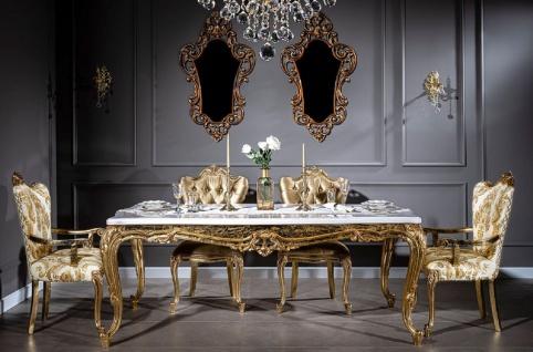 Casa Padrino Luxus Barock Esszimmer Set Weiß / Gold - 1 Esstisch & 6 Esszimmerstühle - Handgefertigte Esszimmer Möbel im Barockstil - Edel & Prunkvoll