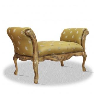 Casa Padrino Barock Schemel Gold Blumenmuster 100 x 40 x H. 60 cm